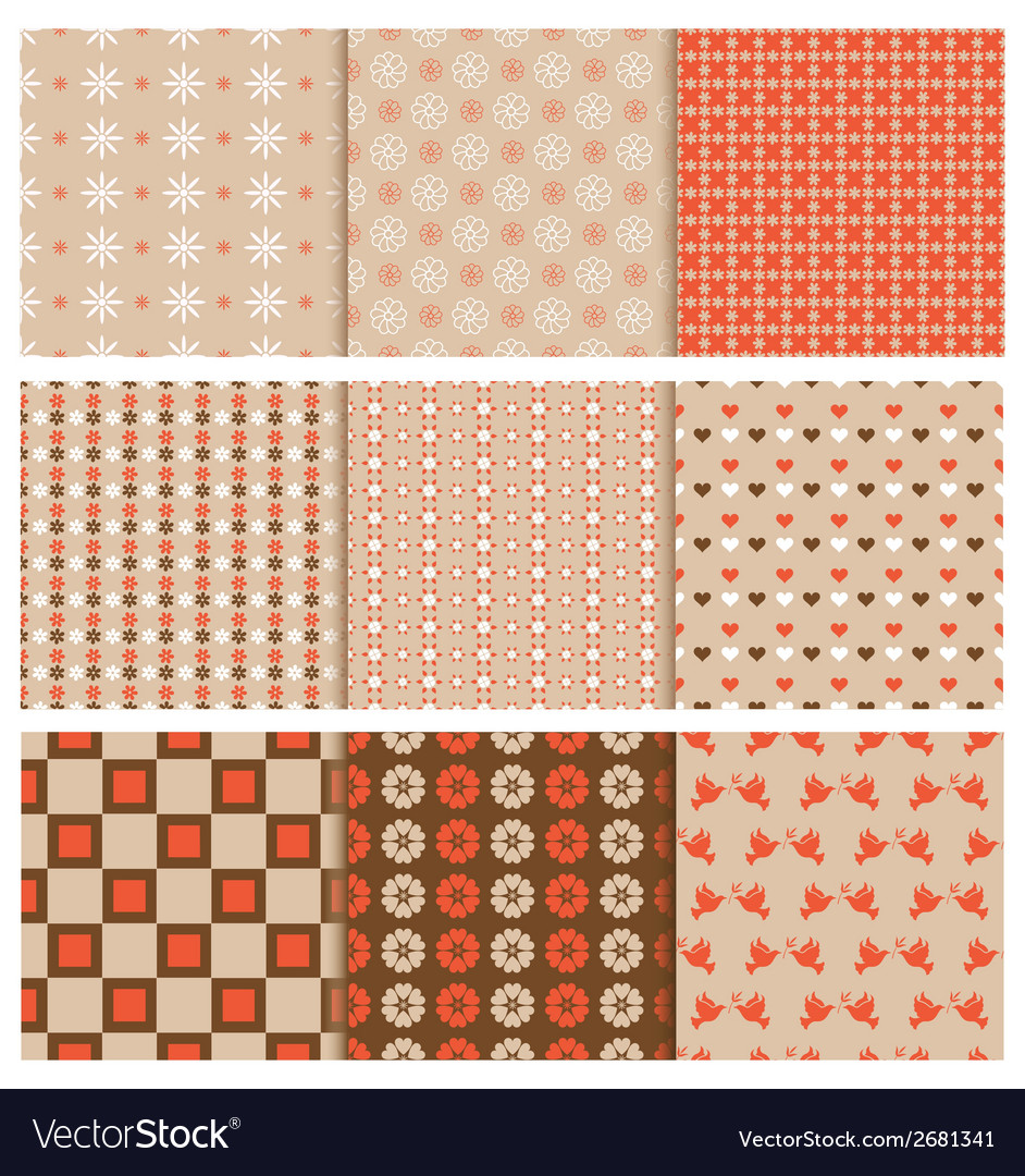 Stylish seamless patterns vector | Price: 1 Credit (USD $1)
