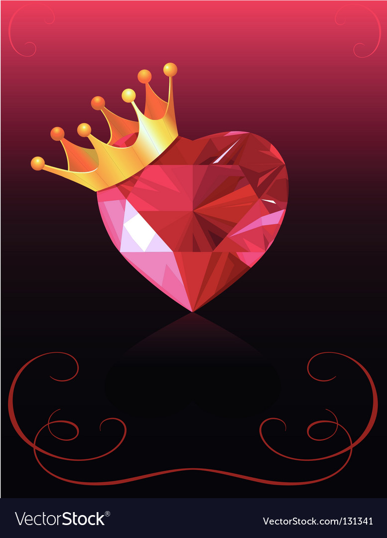 Valentine card with crystal heart vector | Price: 1 Credit (USD $1)