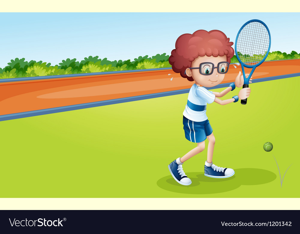 A boy holding a racket vector | Price: 1 Credit (USD $1)