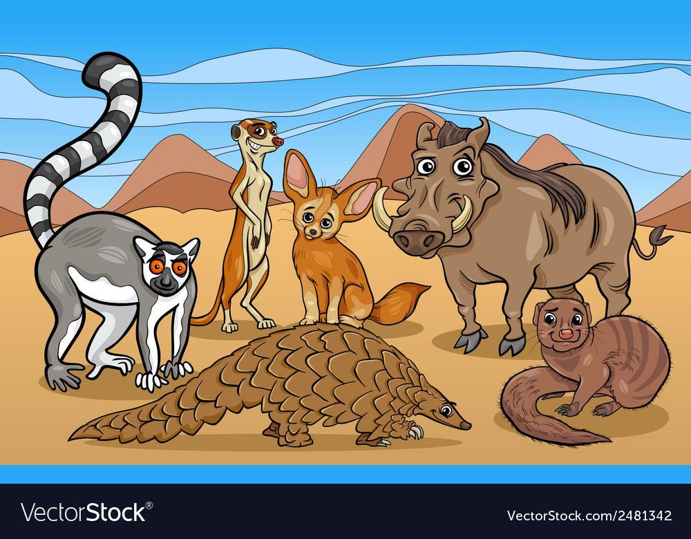 African mammals animals cartoon vector | Price: 1 Credit (USD $1)
