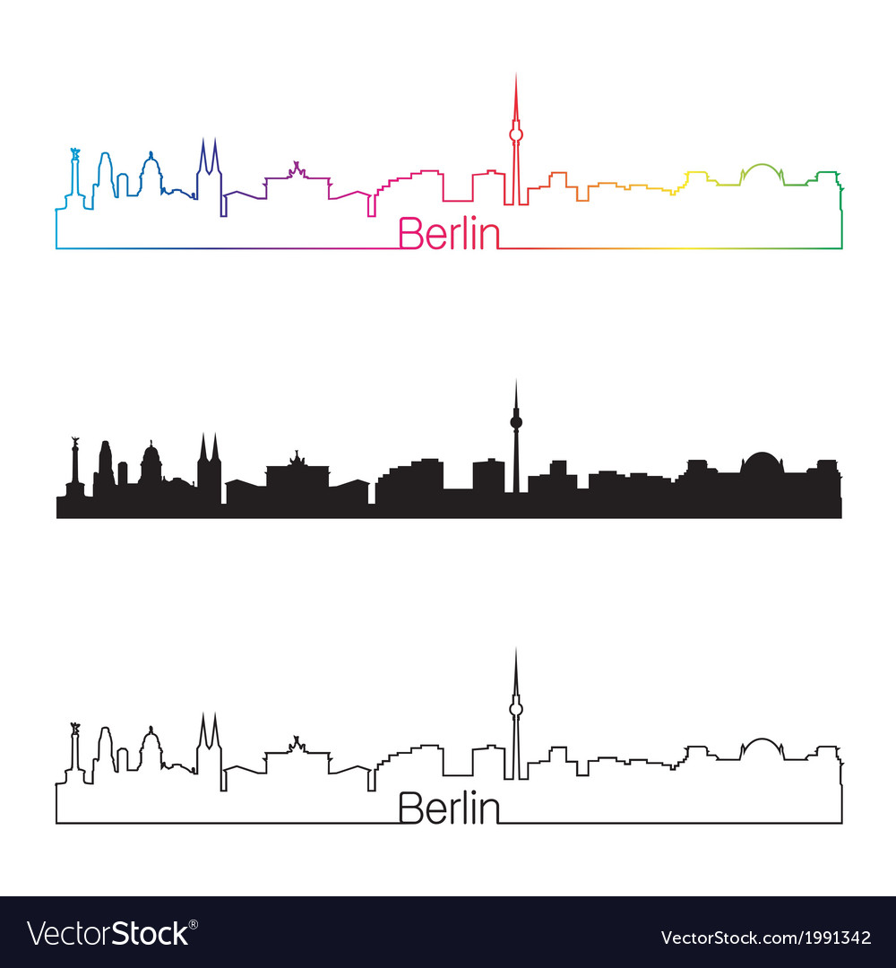 Berlin skyline linear style with rainbow vector | Price: 1 Credit (USD $1)