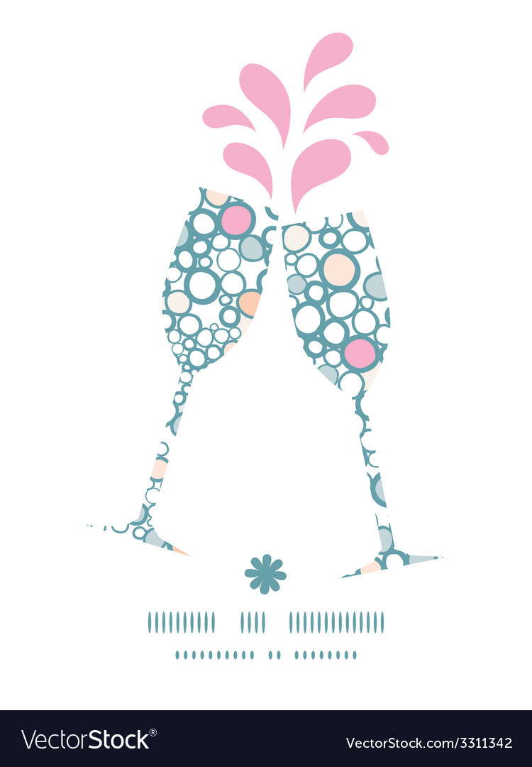 Colorful bubbles toasting wine glasses silhouettes vector   Price: 1 Credit (USD $1)