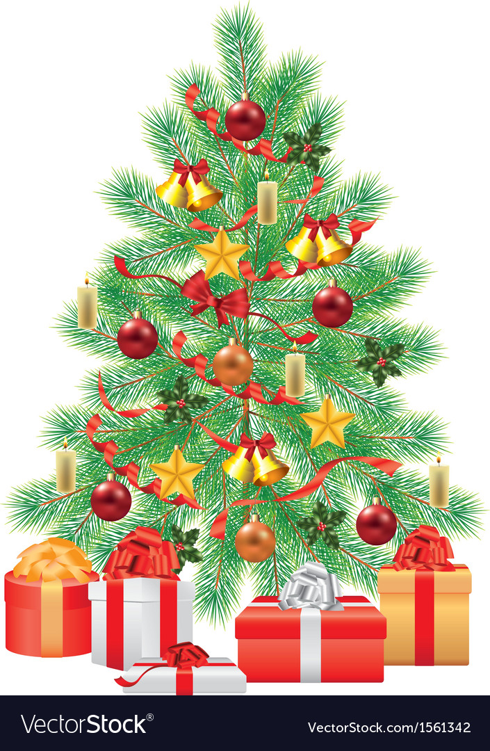 Green fir tree decorations gifts vector | Price: 1 Credit (USD $1)