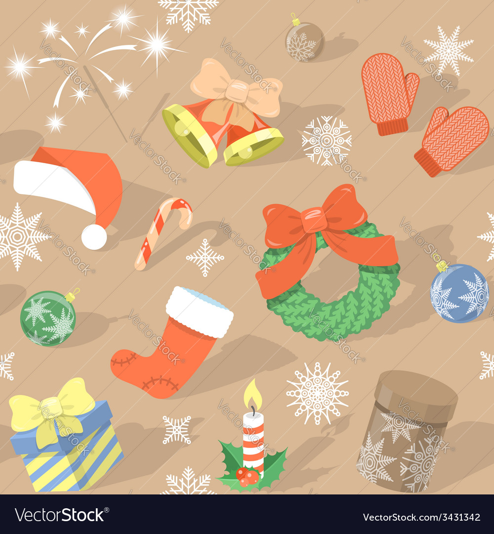 Seamless holidaypattern with christmas symbols vector | Price: 1 Credit (USD $1)