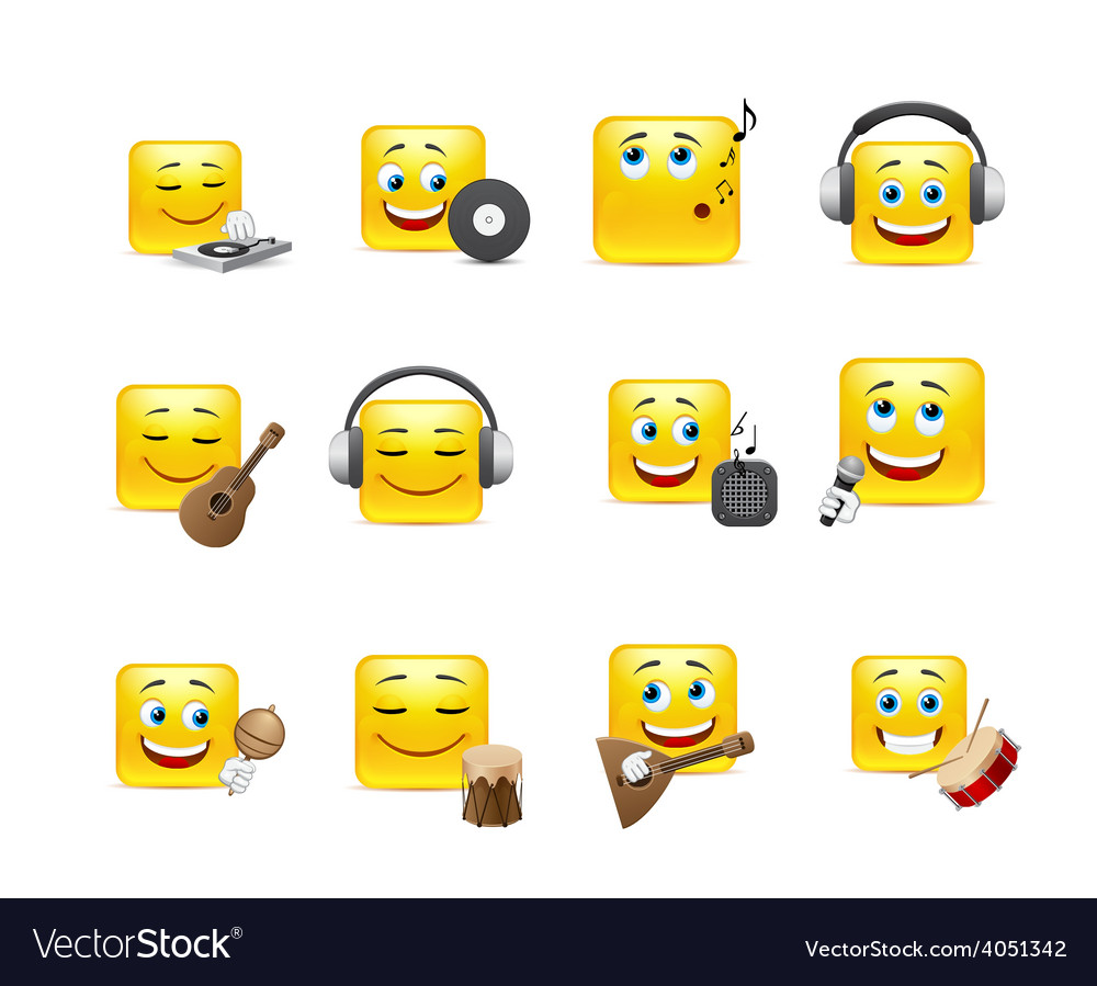 Smileys with musical instruments vector | Price: 1 Credit (USD $1)