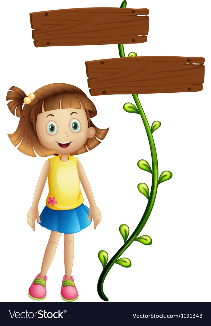 A girl at the back of a two-plank signboard vector | Price: 1 Credit (USD $1)