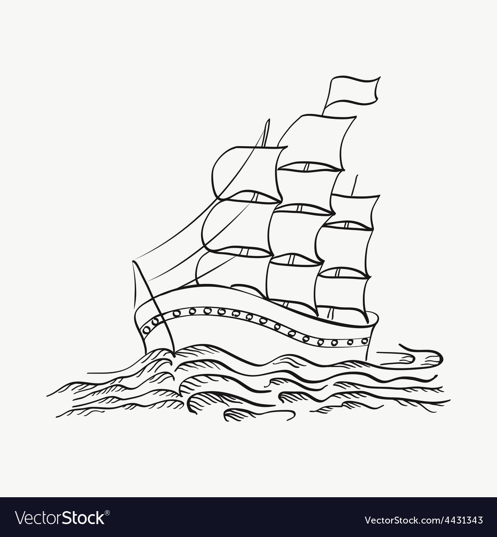 A ship sailing on the sea on a white back vector | Price: 1 Credit (USD $1)
