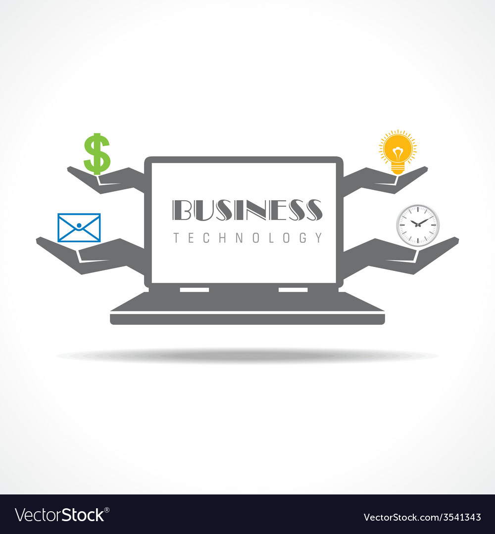 Business technology concept with laptop vector   Price: 1 Credit (USD $1)