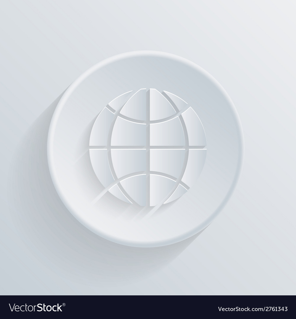 Circle flat icon with a shadow symbol of globe vector | Price: 1 Credit (USD $1)