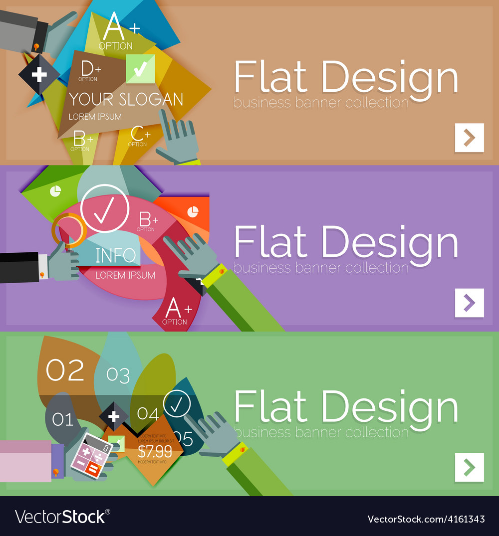 Flat design infographic banners with vector | Price: 1 Credit (USD $1)