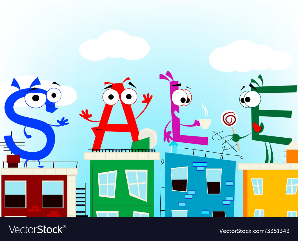 Fun cartoon letters announcing discount eps 10 vector | Price: 1 Credit (USD $1)