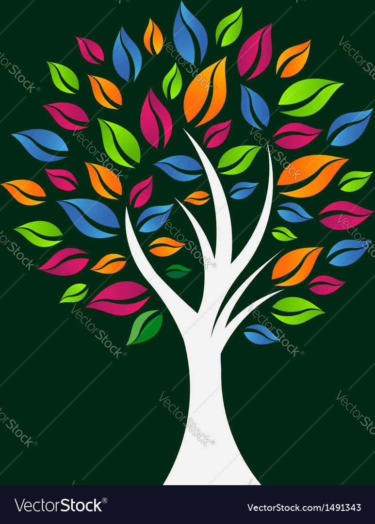 Happy color tree vector | Price: 3 Credit (USD $3)