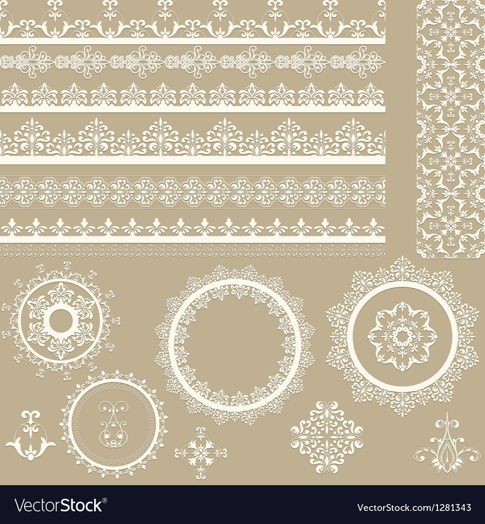 Lacy vintage ribbons napkins and design elements vector | Price: 1 Credit (USD $1)