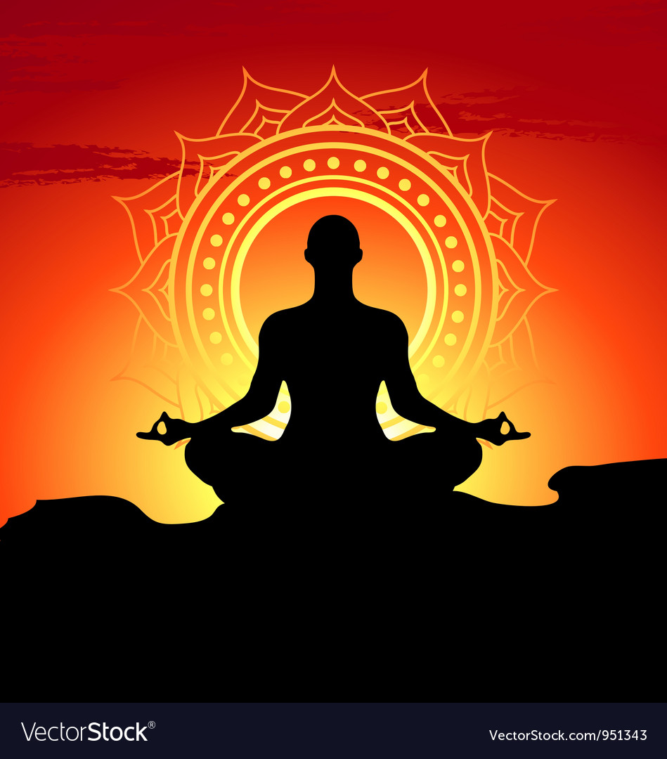 Meditating and doing yoga man vector | Price: 1 Credit (USD $1)