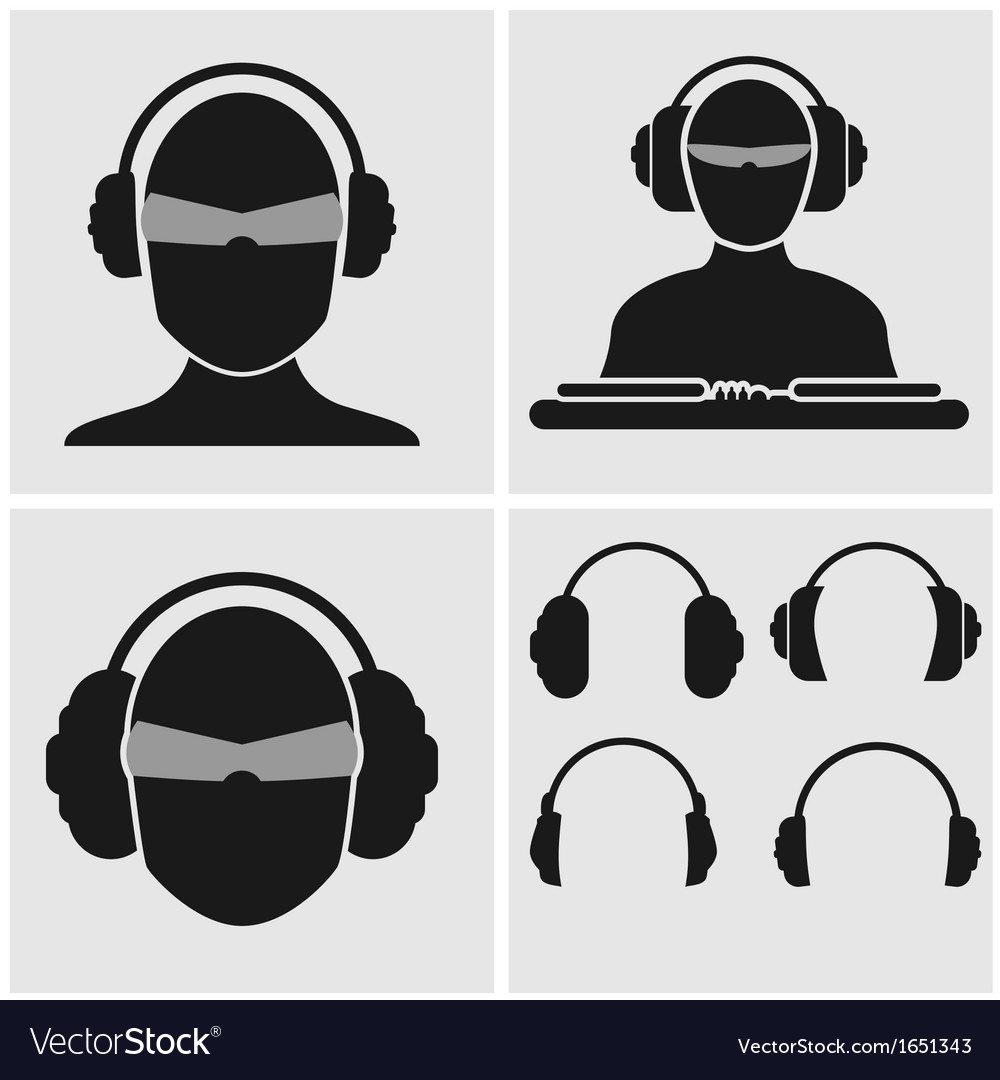 Music headphones icons vector | Price: 1 Credit (USD $1)