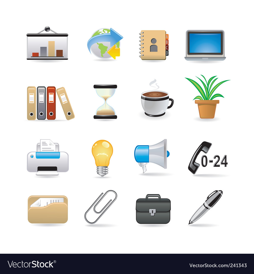 Office set vector | Price: 3 Credit (USD $3)