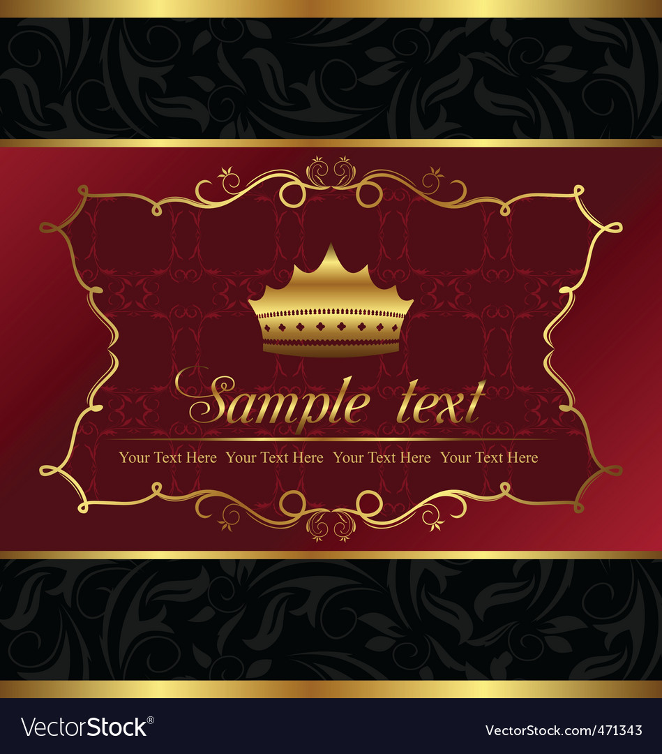 Ornate decorative background with crown vector | Price: 1 Credit (USD $1)