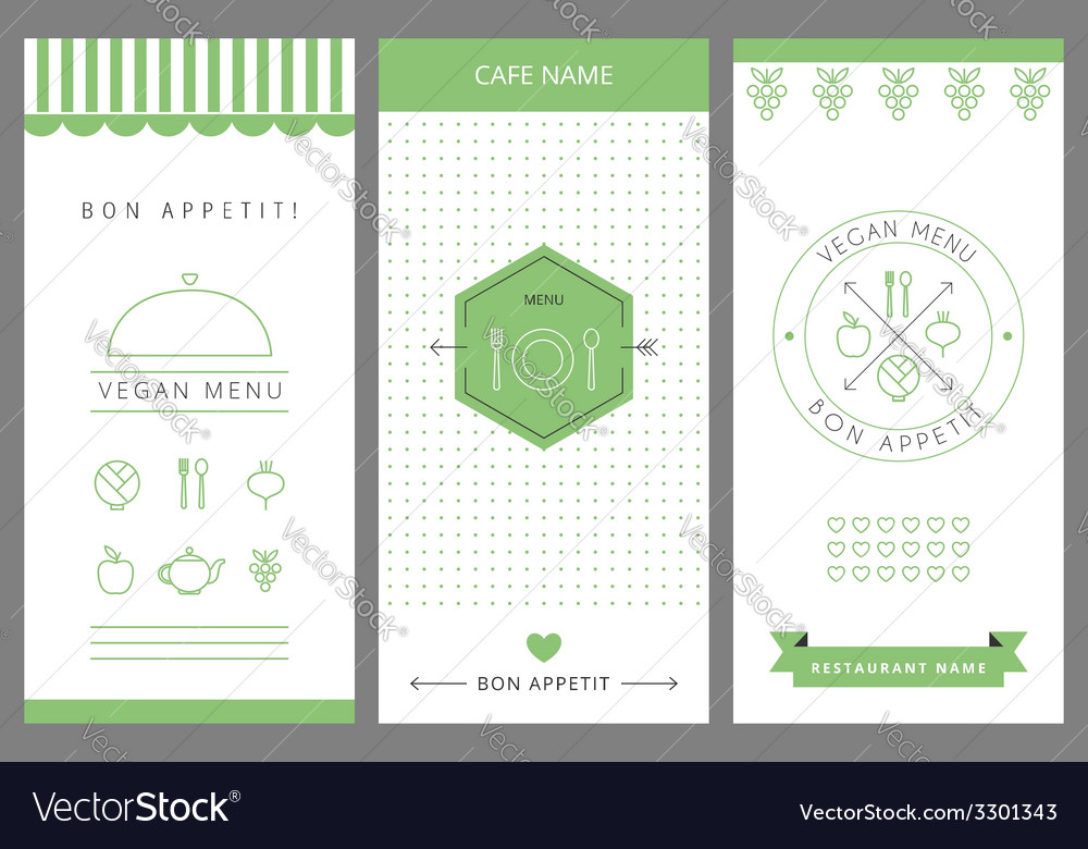 Restaurant vegetarian menu card design template vector | Price: 1 Credit (USD $1)