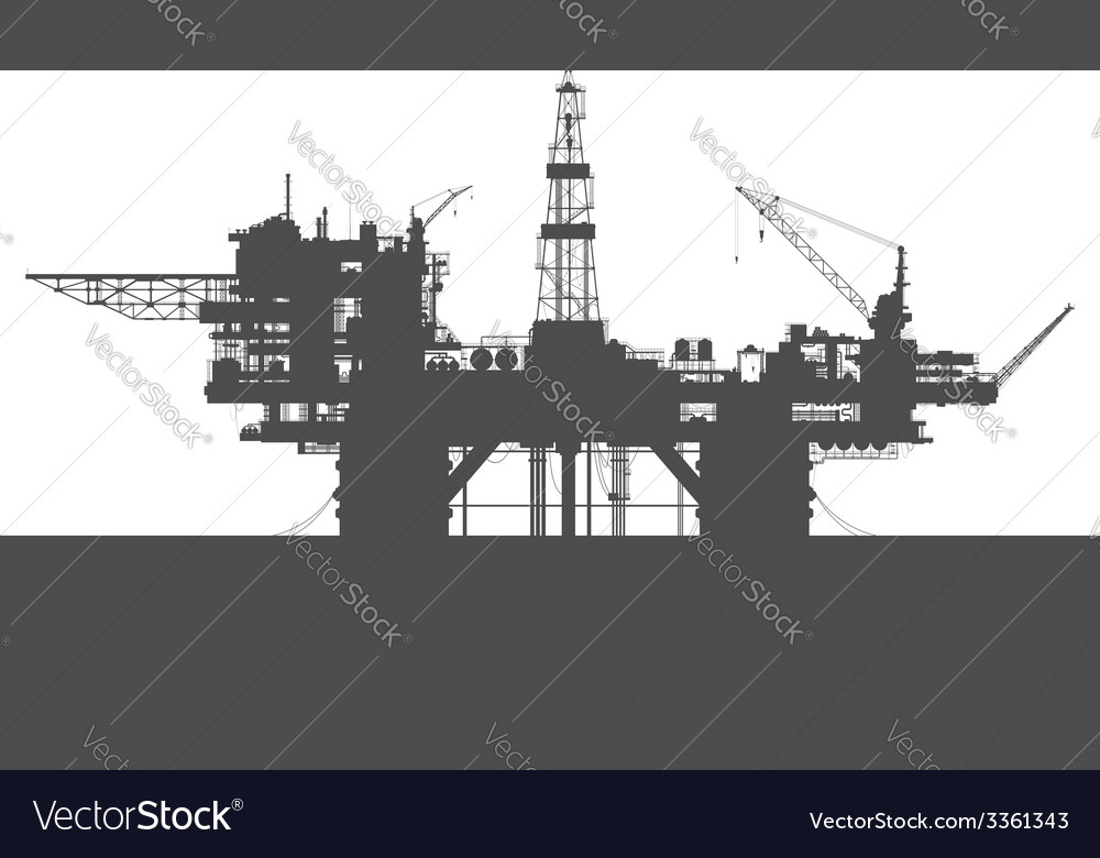 Sea oil rig oil platform in the sea detailed vector | Price: 1 Credit (USD $1)