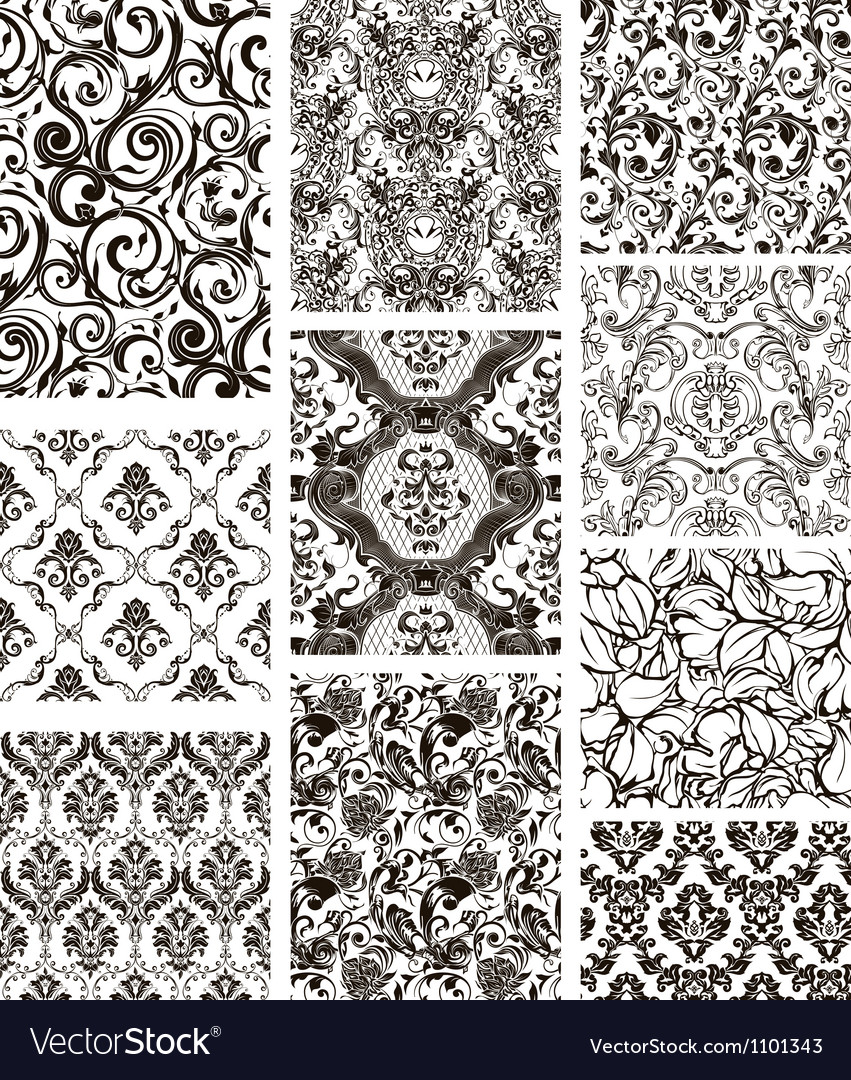 Set of ten patterns black silhouettes vector | Price: 1 Credit (USD $1)