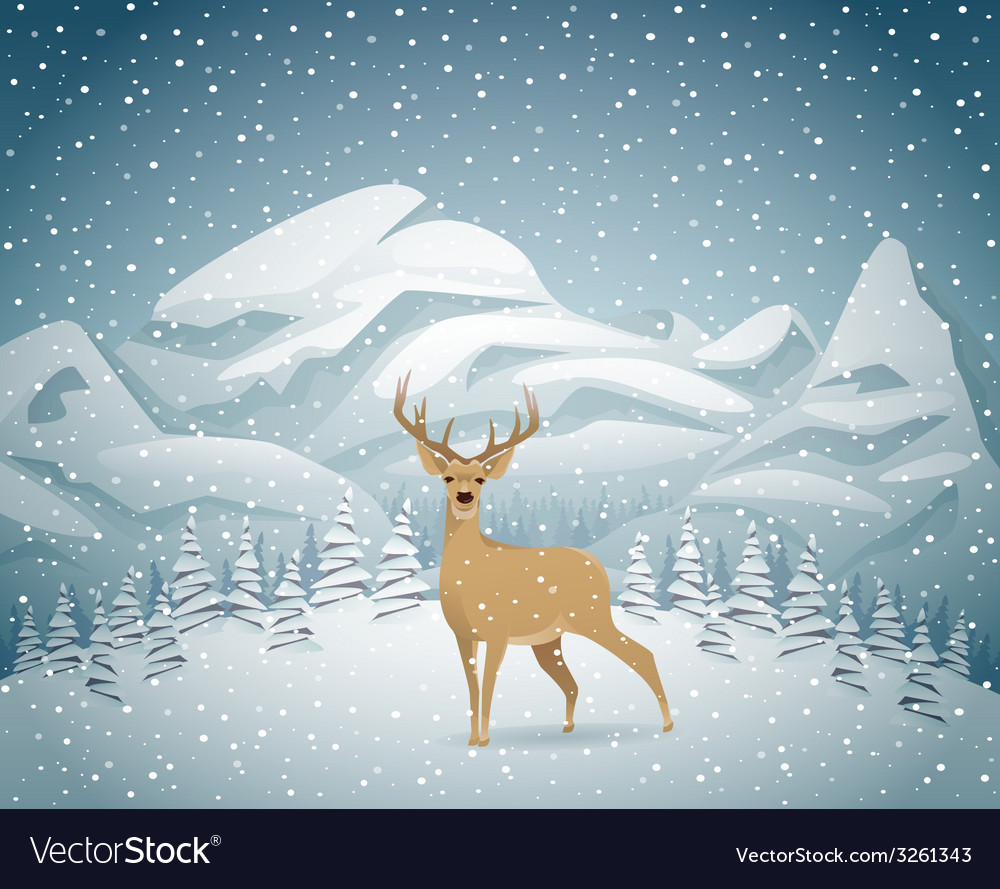 Winter holidays landscape with reindeer vector | Price: 3 Credit (USD $3)