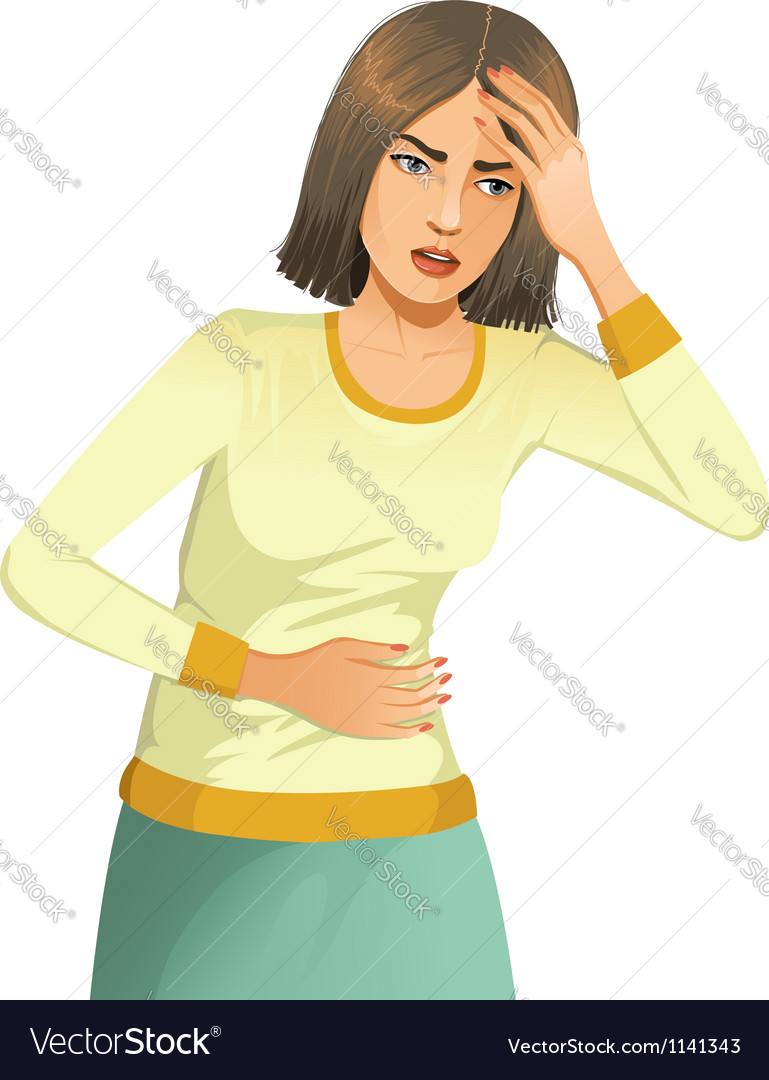 Woman with stomach issues and headache vector | Price: 1 Credit (USD $1)