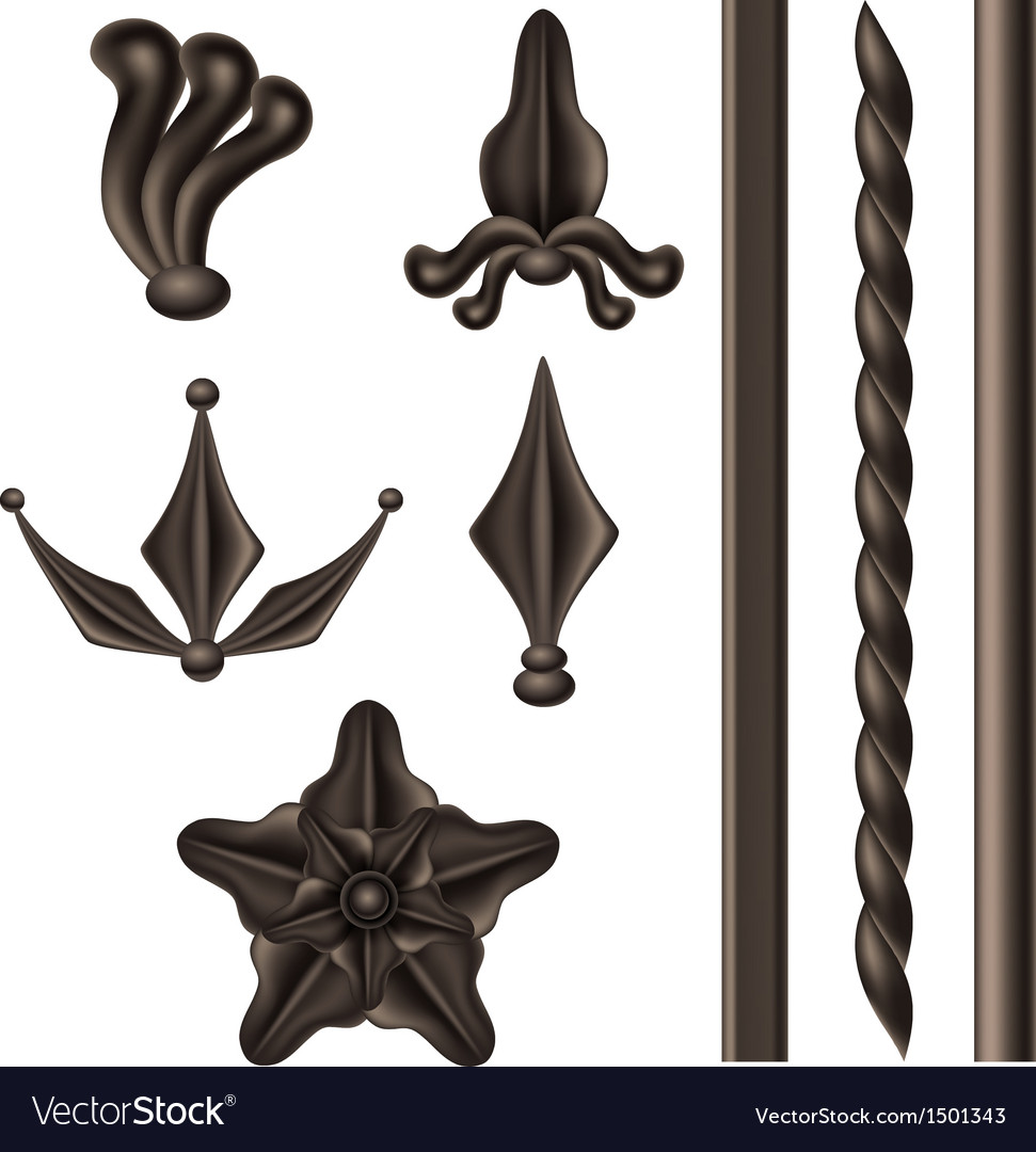 Wrought iron element set vector | Price: 1 Credit (USD $1)