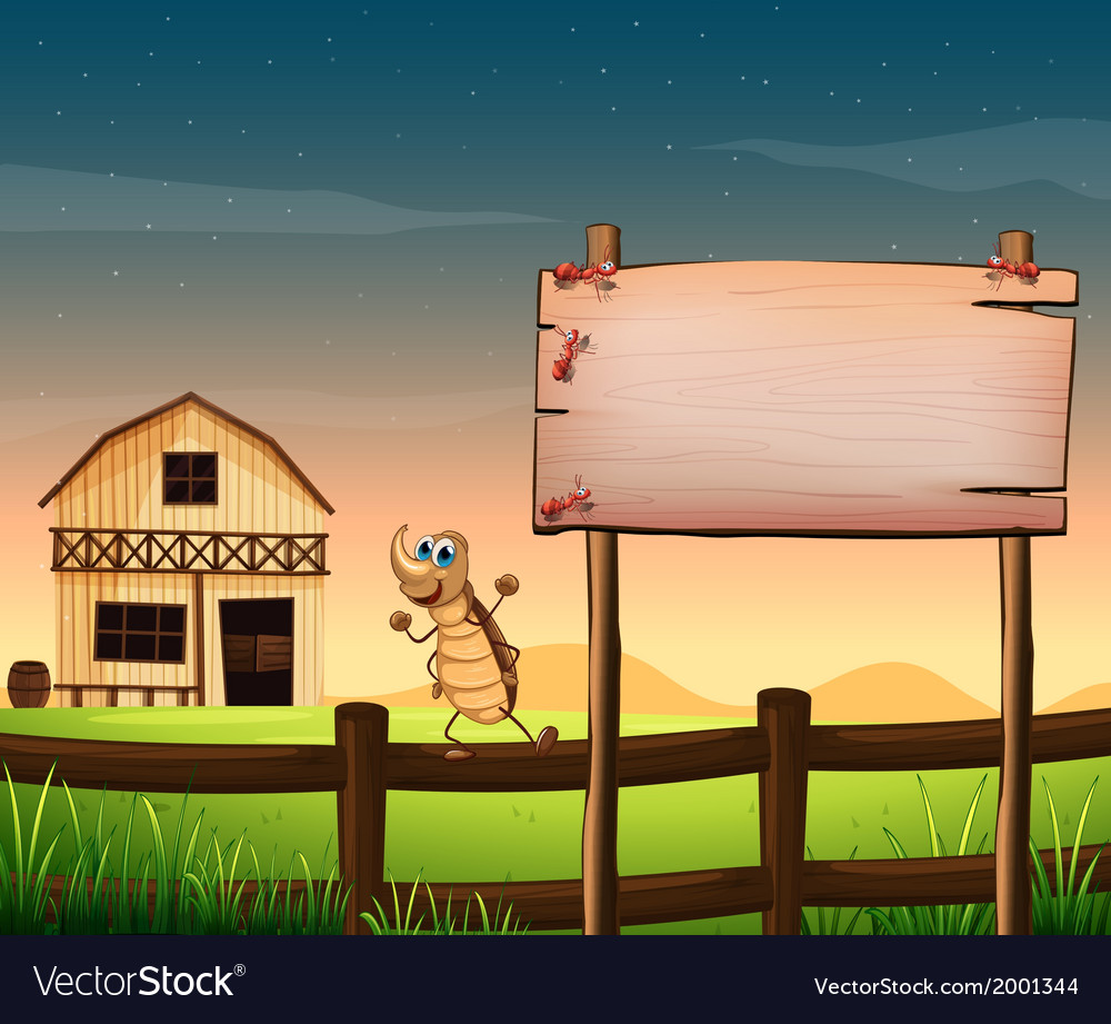 An empty wooden signboard near the fence at the vector | Price: 3 Credit (USD $3)