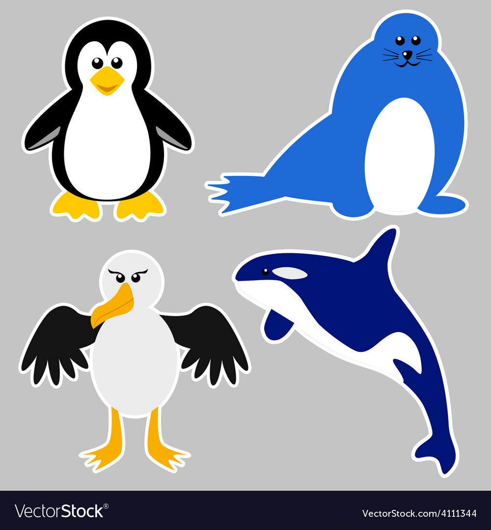 Antarctica animals vector