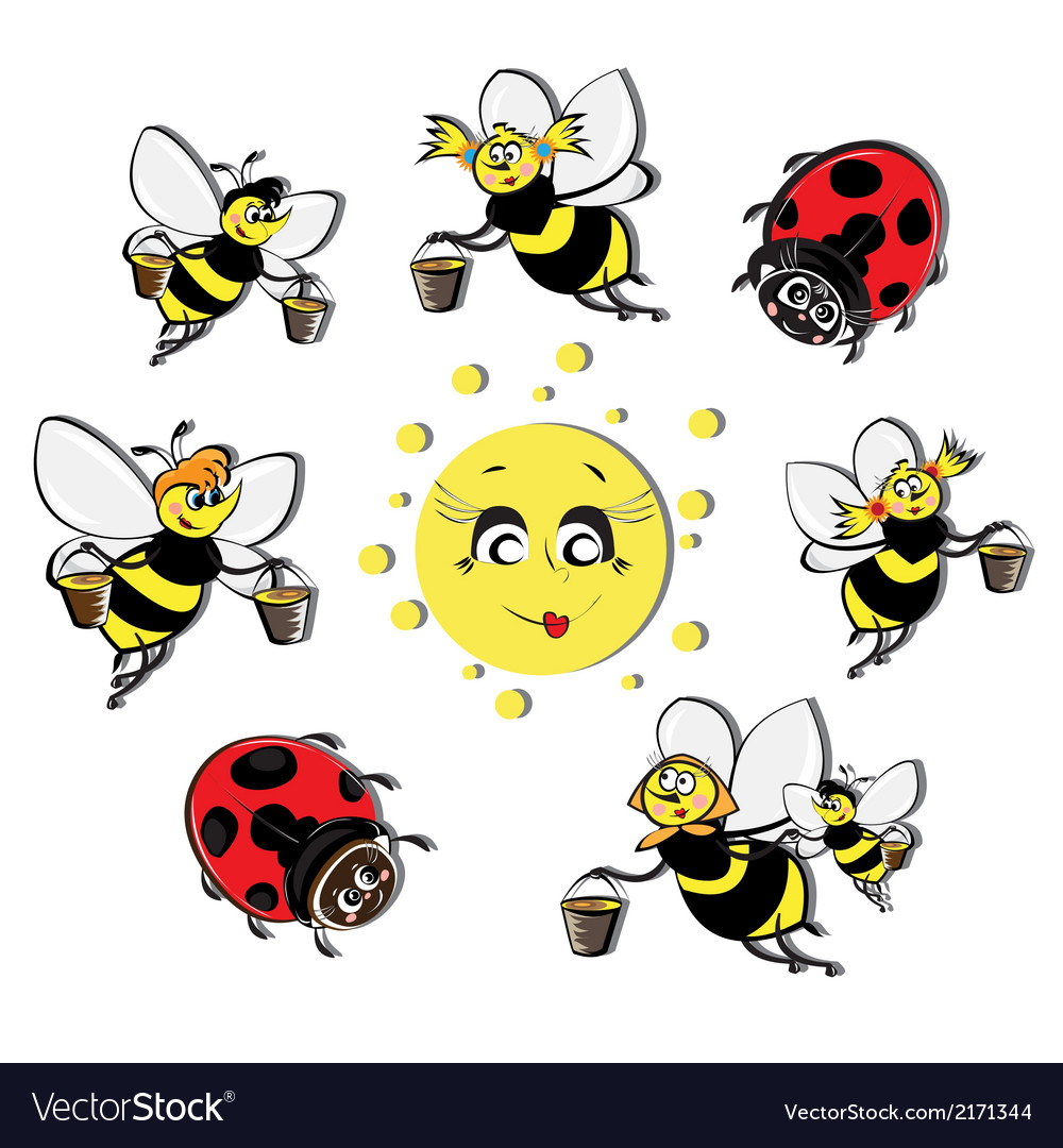 Bees ladybirds around the sun vector | Price: 1 Credit (USD $1)