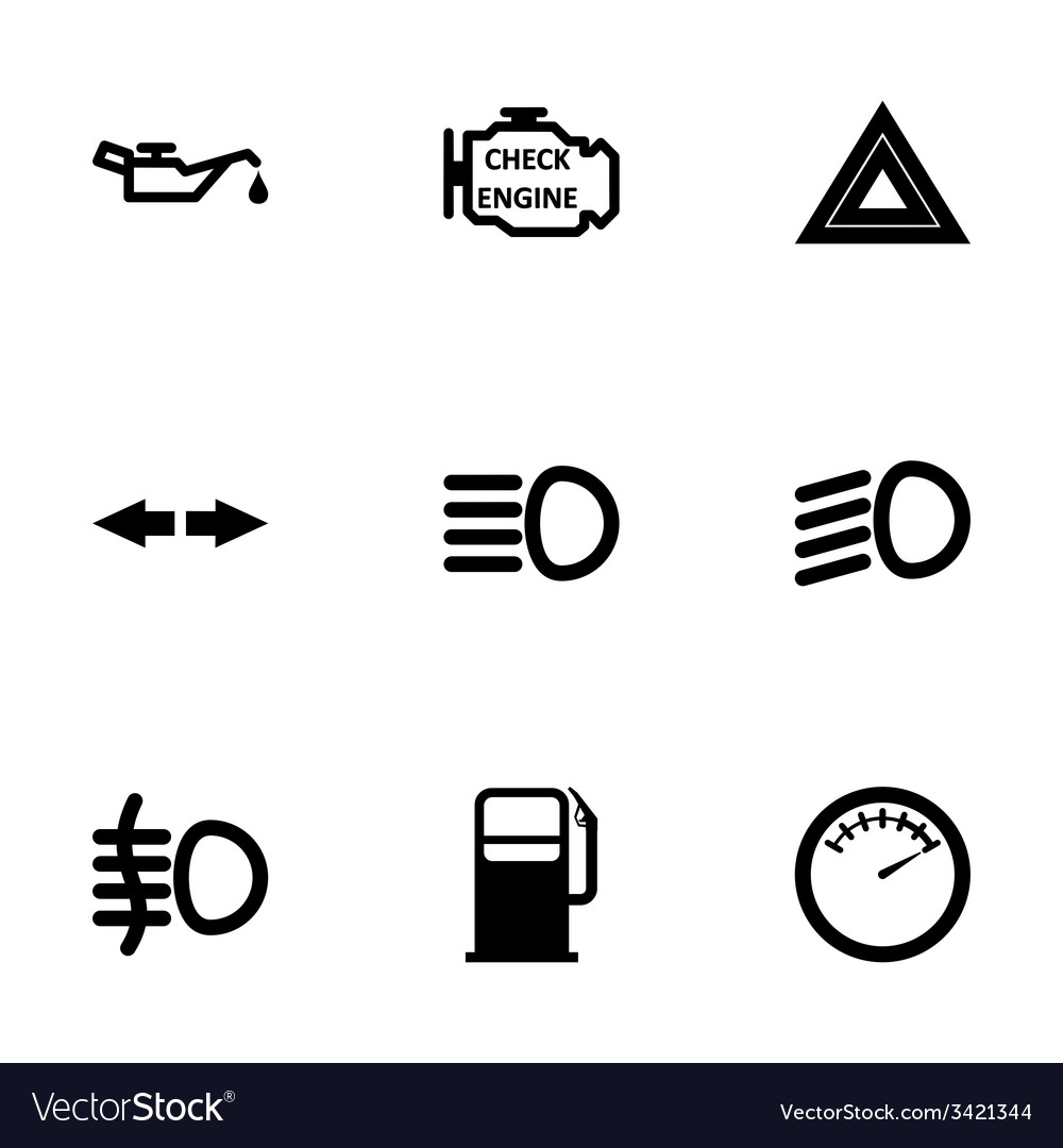 Black car dashboard icon set vector | Price: 1 Credit (USD $1)