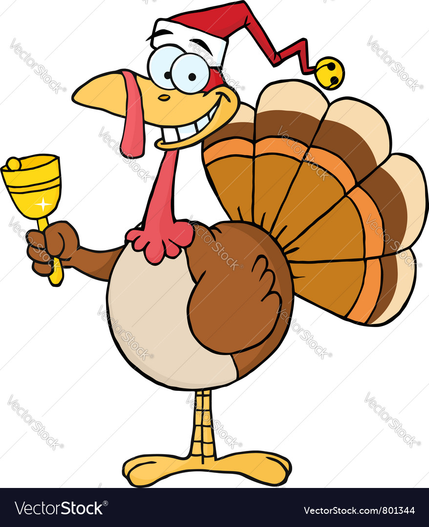 Christmas turkey ringing a bell vector | Price: 1 Credit (USD $1)