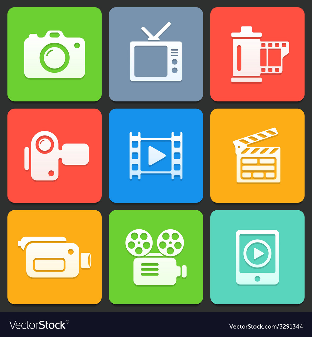 Colorful media icons for web and mobile vector | Price: 1 Credit (USD $1)