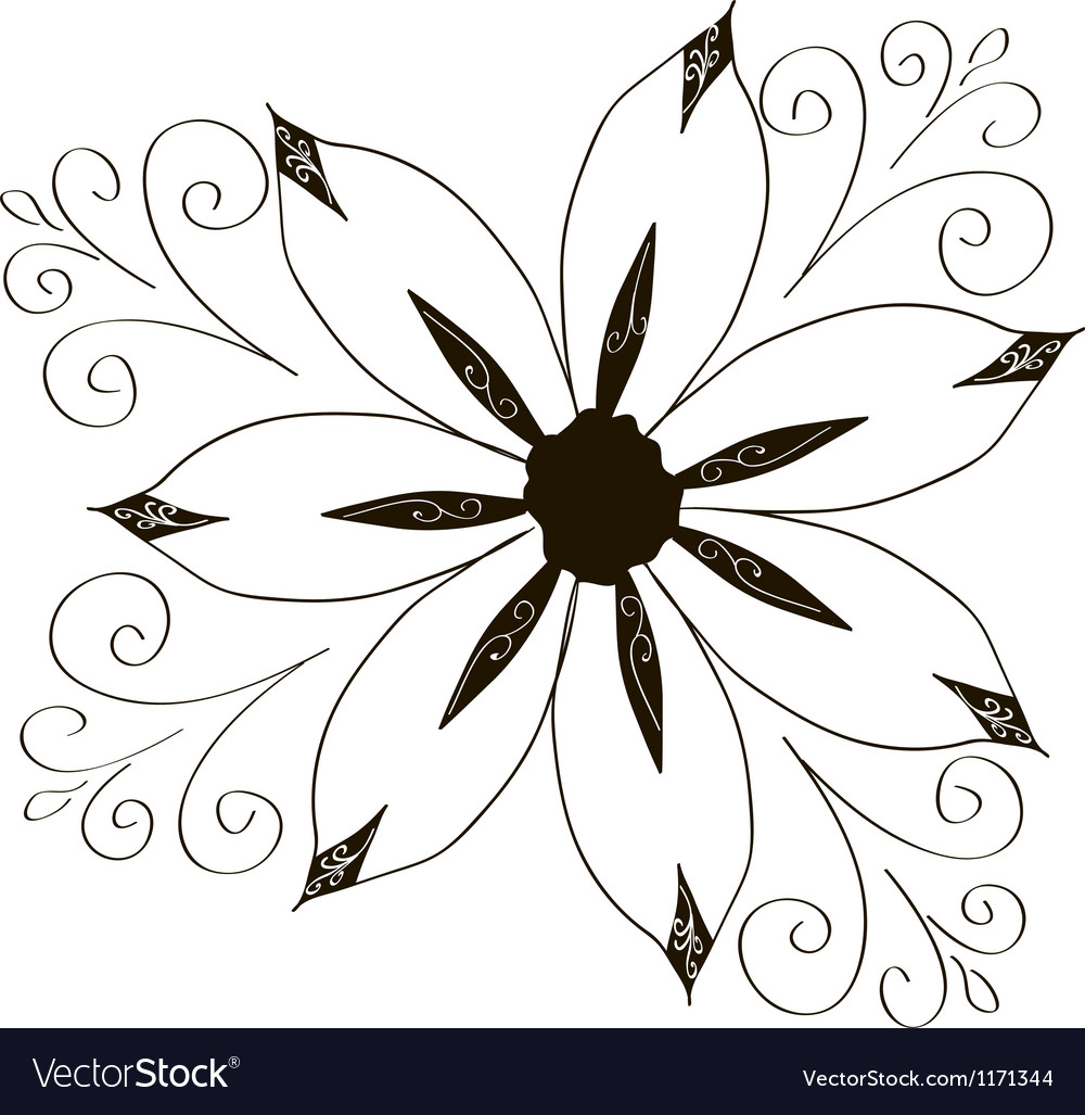 Curled flowers ornament collection vector | Price: 1 Credit (USD $1)