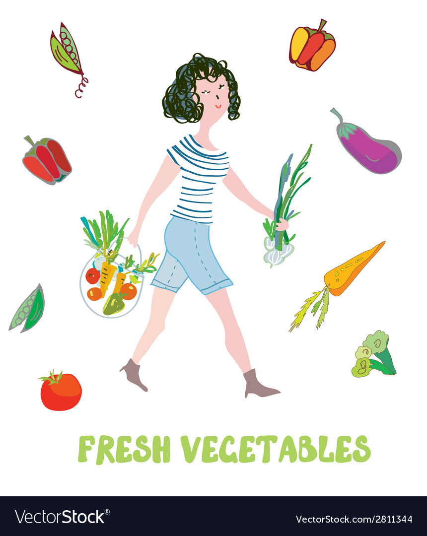 Girl and fresh vegetables card - market vector | Price: 1 Credit (USD $1)