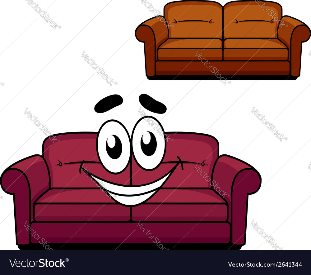 Happy cartoon upholstered couch vector | Price: 1 Credit (USD $1)