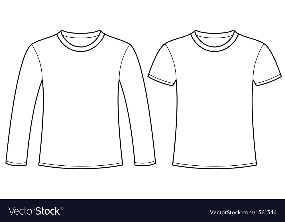 Long-sleeved t-shirt and t-shirt template vector | Price: 1 Credit (USD $1)
