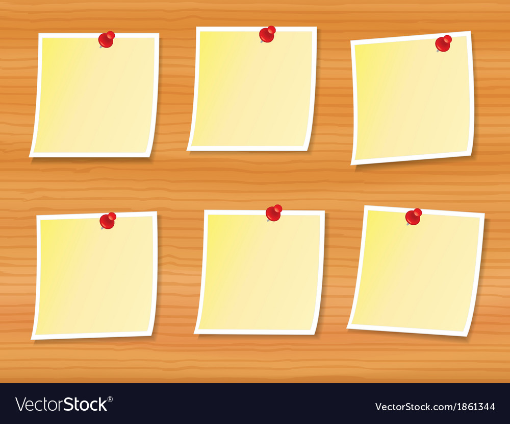 Notes pinned to wood vector | Price: 1 Credit (USD $1)