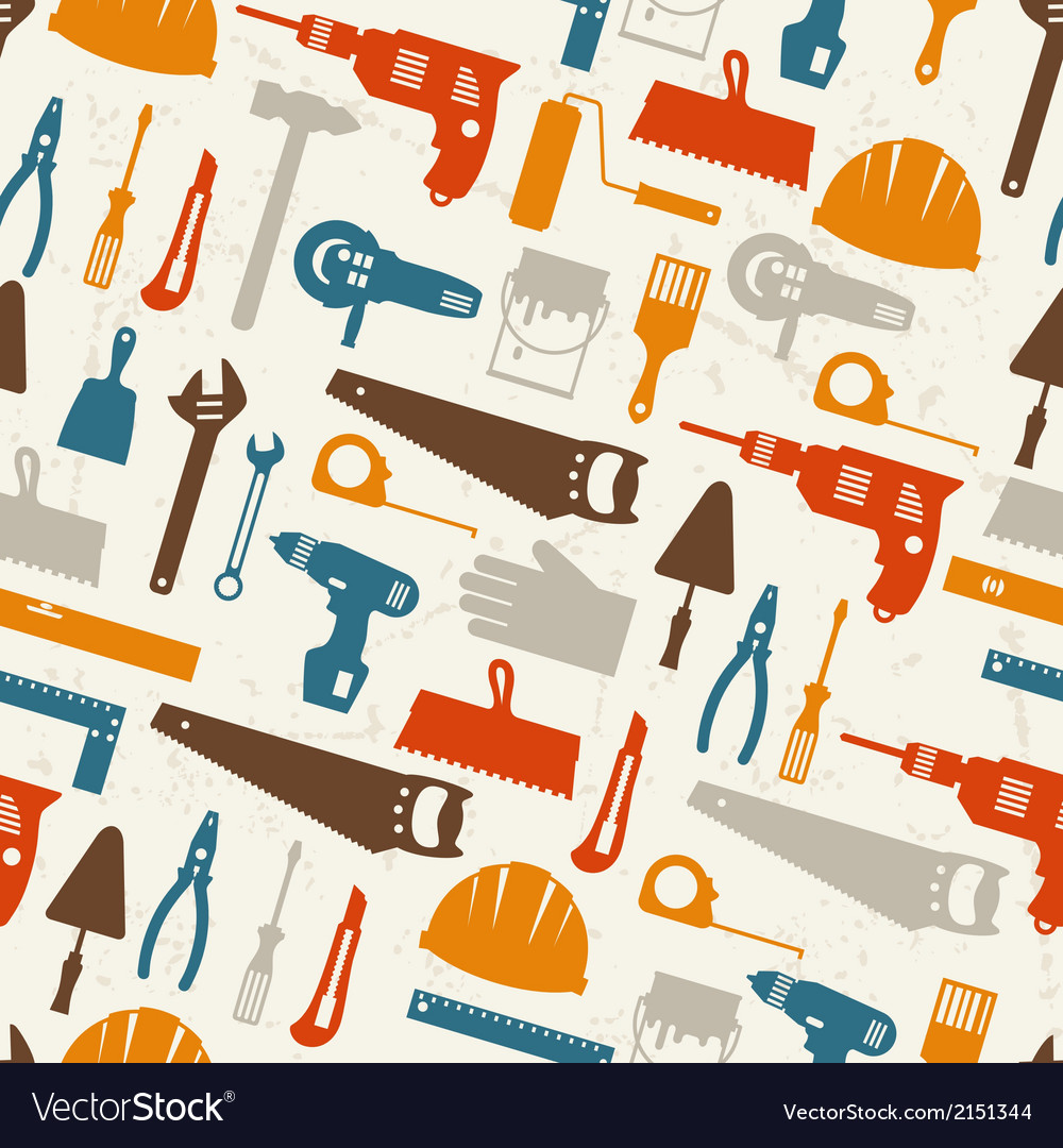 Seamless pattern with repair working tools icons vector | Price: 1 Credit (USD $1)