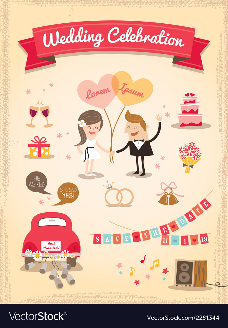 Set of wedding cartoon design elements vector | Price: 1 Credit (USD $1)