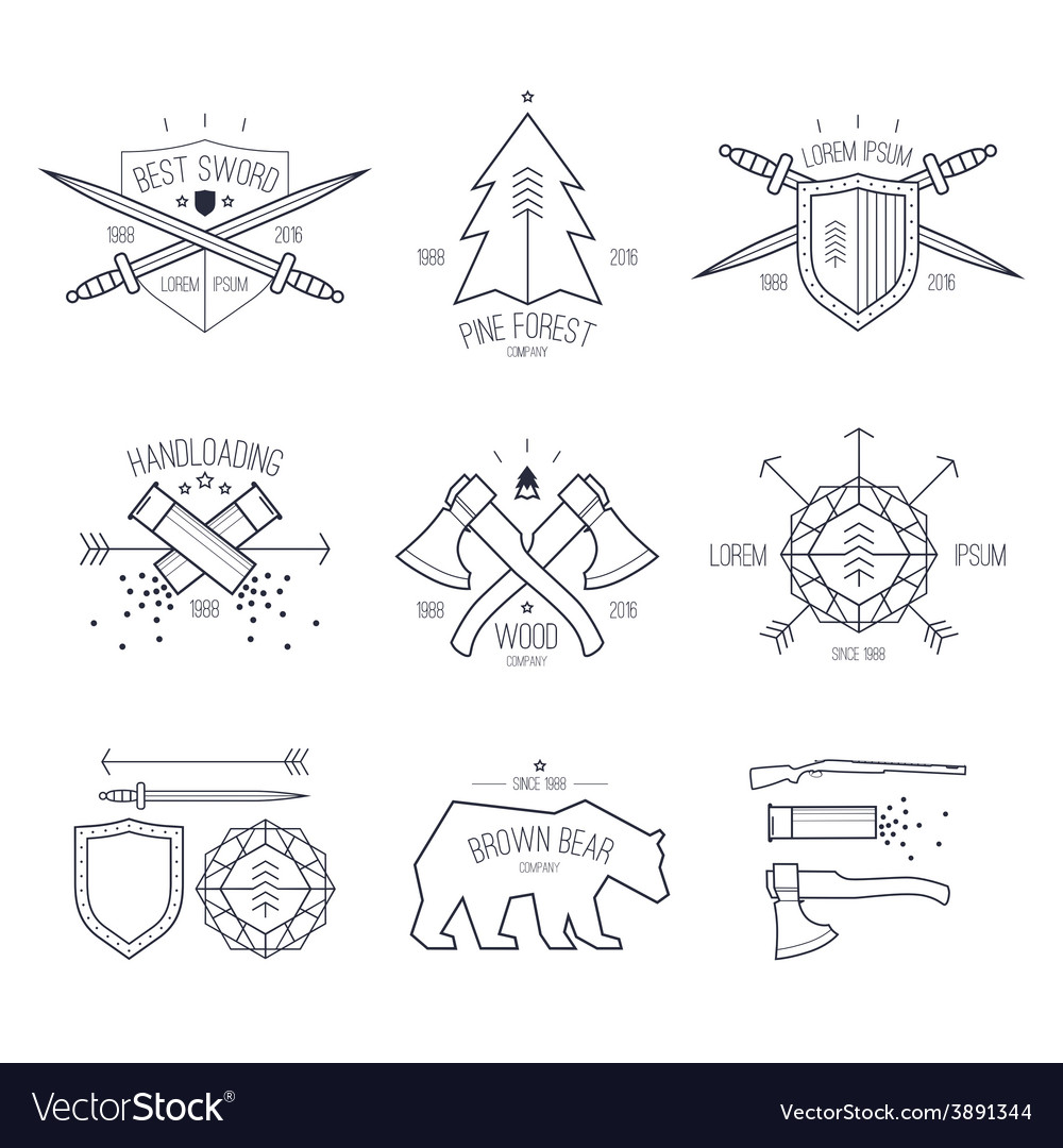 Trendy badges in thin line style vector   Price: 1 Credit (USD $1)