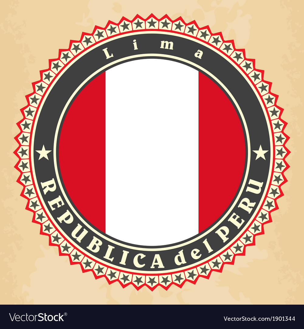 Vintage label cards of peru flag vector | Price: 1 Credit (USD $1)