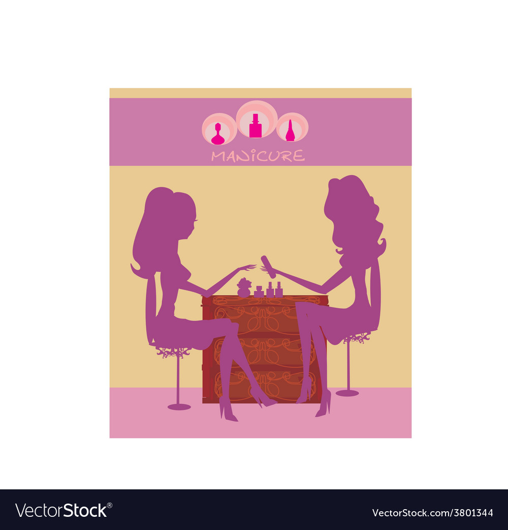 Young lady doing manicure in beauty salon vector | Price: 1 Credit (USD $1)