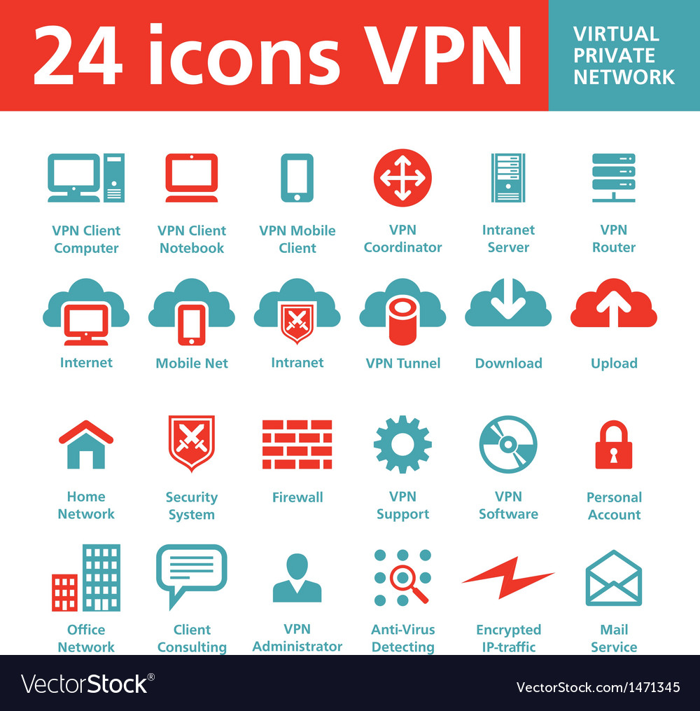 24 icons vpn - virtual private network vector | Price: 1 Credit (USD $1)