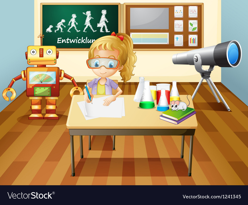 A girl writing inside a science laboratory room vector | Price: 1 Credit (USD $1)