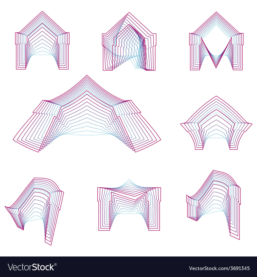 Abstract geometrical line icons for arch vector | Price: 1 Credit (USD $1)