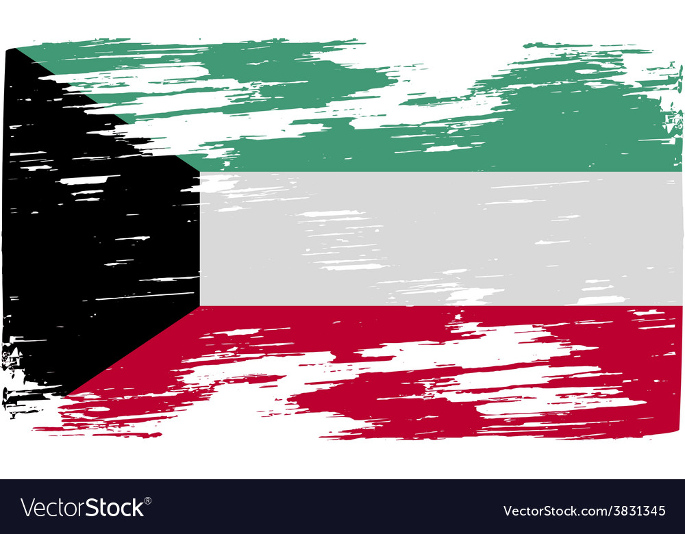 Flag of kuwait with old texture vector | Price: 1 Credit (USD $1)