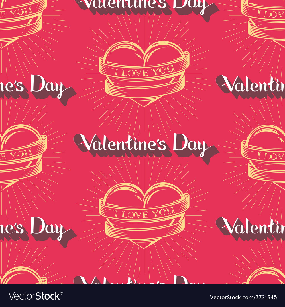 I love you happy valentines day seamless pattern vector | Price: 1 Credit (USD $1)