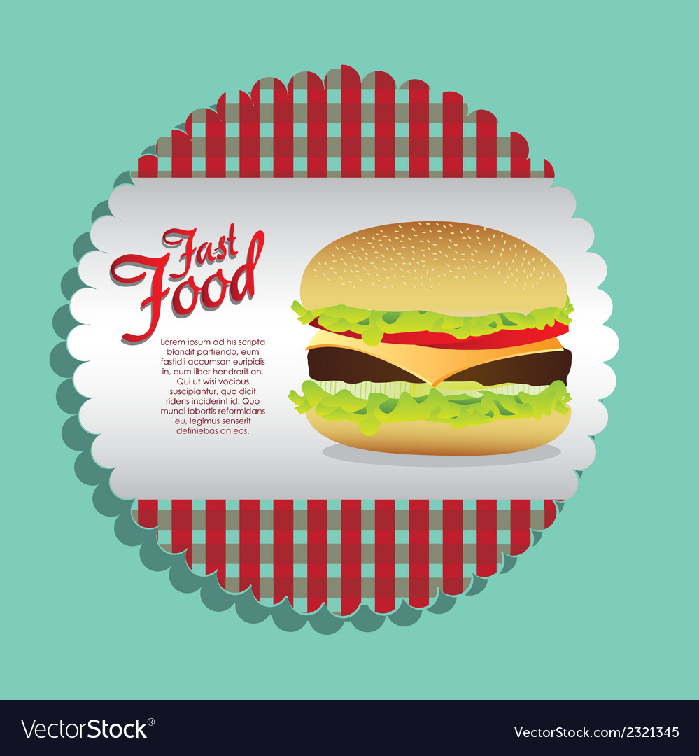 Label burger on a blue background vector | Price: 1 Credit (USD $1)