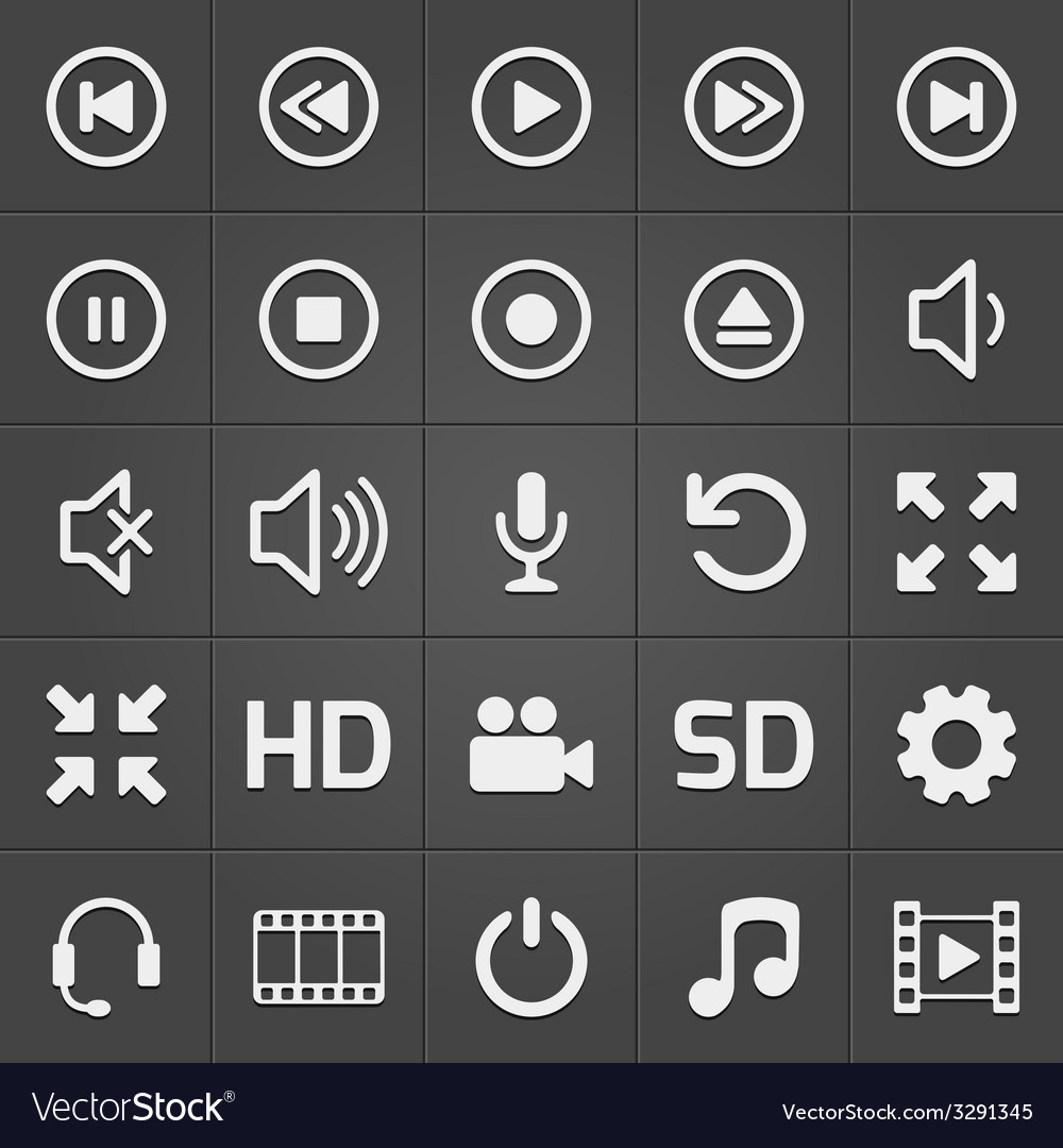 Media interface icon on black background vector | Price: 1 Credit (USD $1)